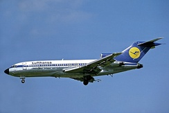 The initial 727-100 (from Lufthansa here) is 133 ft (41 m) long.