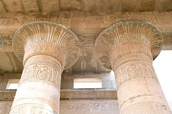 Capitals of ancient Egyptian columns decorated to resemble papyrus plants. (at Luxor, Egypt)