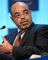 Former Prime Minister Meles Zenawi at the 2012 World Economic Forum annual meeting