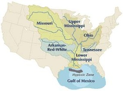 The Mississippi River basin and tributaries