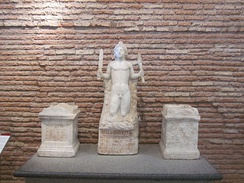 Rock-born Mithras and Mithraic artifacts (Baths of Diocletian, Rome)