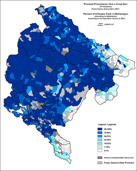 Eastern Orthodox Christians in Montenegro, according to 2011 census