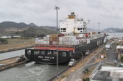 The panamax ship MSC Poh Lin exiting the Miraflores locks, March 2013