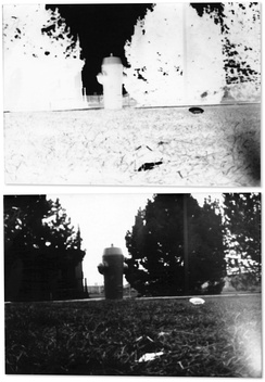 A fire hydrant photographed by a pinhole camera made from a shoe box, exposed on photographic paper (top). The length of the exposure was 40 seconds. There is noticeable flaring in the bottom-right corner of the image, likely due to extraneous light entering the camera box.