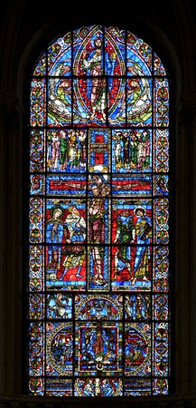 "A rare and remarkable survival, of ""unforgettable beauty"",[42] the very large Crucifixion window of Poitiers Cathedral, France."