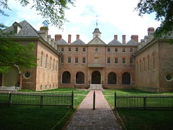 Rear view of the Wren Building at the College of William and Mary, begun in 1695