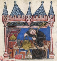 A medieval scholar making precise measurements in a 14th-century manuscript illustration