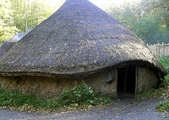 A reconstruction of a British Iron Age Celtic roundhouse.