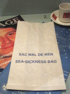 Special bags are often supplied on boats for sick passengers to vomit into.