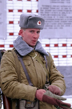 A Soviet soldier of the 2nd Guards Tamanskaya Motor Rifle Division wearing the winter Afghanka uniform, Moscow, January 1992