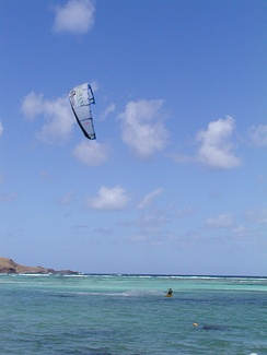 Kitesurfing at Baie de Saint-Jean