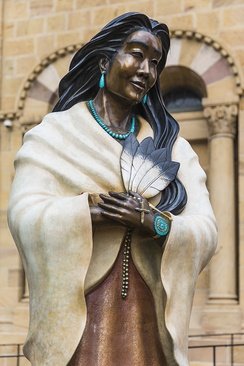 Statue Kateri Tekakwitha, Cathedral Basilica of St. Francis of Assisi, Santa Fe, NM.