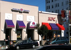 A single Yum! restaurant facility co-branded as Taco Bell and KFC in San Francisco, California