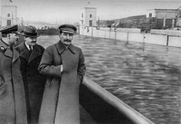 Nikolai Yezhov, standing to the right of Joseph Stalin, was shot in 1940. He was edited out of the photo by Soviet censors after his execution as a form of damnatio memoriae.[11] This policy was commonly applied to high-ranking executed political enemies during Stalin's reign.