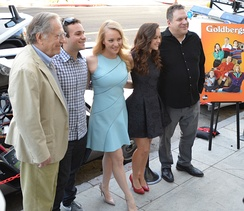 Segal (left) with The Goldbergs cast, 2014