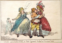 """THE DEVONSHIRE, or Most Approved Method of Securing Votes"", by Thomas Rowlandson, 1784. Georgiana, Duchess of Devonshire canvassing."