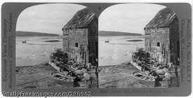 "Stereoscopic view ""Lobster pots ready for placing"" ~ 1928"