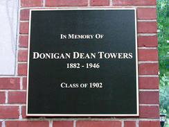 A commemorative plaque on Towers Hall