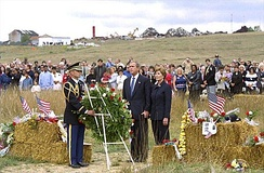 Photo of president George W. Bush and first lady Laura Bush visiting Stonycreek Township on September 11, 2002.