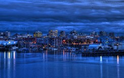 Downtown Victoria at twilight. Downtown is central business district for Greater Victoria and a major tourist destination.