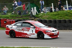 Muller driving for Vauxhall at Brands Hatch during the 2004 British Touring Car Championship season.