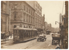A tram car on George Street in 1920. Sydney once had one of the largest tram networks in the British Empire.