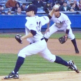 Kennedy pitching for the New York Yankees in 2008