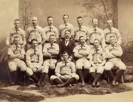 "Albert ""Doc"" Bushong with 1889 Brooklyn Bridgrooms"