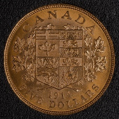 A 1914 Canadian $5 coin, minted 1912–1914, featuring the 1868 version of the arms