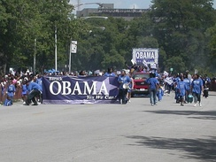 Obama-for-Senate float at the 2004 Bud Billiken Parade and Picnic