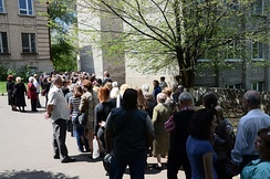 Donetsk status referendum organized by pro-Russian separatists. A line to enter a polling place, 11 May 2014