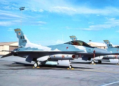 Former aircraft parking area for the 414th Combat Training Squadron. F-16C Block 32D, AF Ser. No. 86-0281, prominent in photo