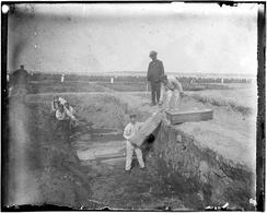 A trench at the potter's field on Hart Island, New York, circa 1890 by Jacob Riis