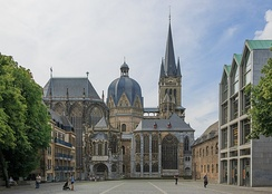 Aachen Cathedral, Germany, founded by Charlemagne in 800 AD, coronation place of the Holy Roman Emperor.