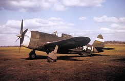 Republic P-47C-5-RE Thunderbolt Serial 41-6530 of the 551st Fighter Training Squadron.    This aircraft was formerly assigned to the 56th Fighter Group at RAF Kings Cliffe.  This aircraft was condemned due to enemy action 16 April 1946
