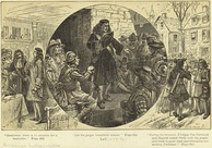 Nineteenth-century engraving depicting Nicholson's councilors attempting to quiet the rebellion