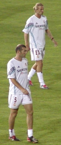Beckham (top) and Zinedine Zidane at Real Madrid in August 2003