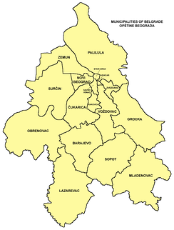 Municipalities of Belgrade map