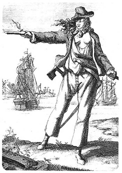 Pirate Anne Bonny (1697–1720). Engraving from Captain Charles Johnson's General History of the Pyrates (1st Dutch Edition, 1725)