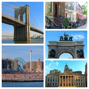 Clockwise from top left: Brooklyn Bridge, Brooklyn brownstones, Soldiers' and Sailors' Arch, Brooklyn Borough Hall, Coney Island