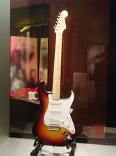 (Left): Buddy Holly's guitar exhibited in Texas; (right): Yngwie Malmsteen Signature