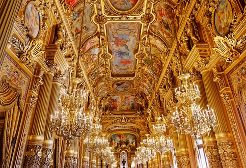 ceilings of the grand foyer of palais Garnier, opera of Paris