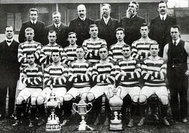 Celtic F.C. are the side with the most Scottish Cup victories. The trophy is pictured second from left, alongside the 1907–08 team