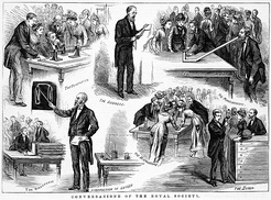 Wood engraving published in The Illustrated Australian News, depicting a public demonstration of new technology at the Royal Society of Victoria (Melbourne, Australia) on 8 August, 1878.