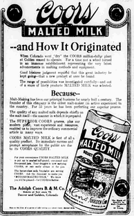 Ad for Coors Malted Milk, produced in 1918
