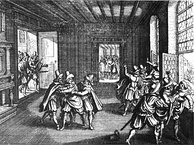 The 1618 Defenestration of Prague marked the beginning of the Bohemian Revolt against the Habsburgs and therefore the first phase of the Thirty Years' War.