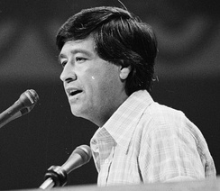 Cesar Chavez nominating Jerry Brown during the presidential roll call vote on the third-day of the convention