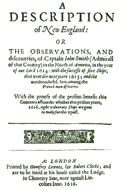"Title page of Captain John Smith's 1616 work A Description of New England, the first text to use the name ""New Plymouth"" to describe the site of the future colony"