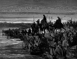 """The Children of Israel Crossing the Jordan"", engraving by Gustave Doré. Moshe Weinfeld argues that in the Book of Joshua, the Jordan is portrayed as ""a barrier to the promised land.""[11]"