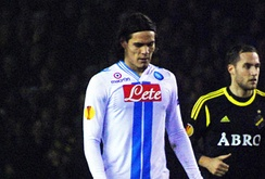 Cavani playing against AIK in the Europa League